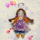 Handmade doll keychain. Moppet doll. Doll accessory. Gift for her. Pocket doll.