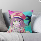 Aesthetic Cute Anime Pink Little Girl Waifu Throw Pillow
