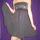 FOREVER 21 Black & White Strapless Chiffon Polka Dot Baby Doll Dress - S