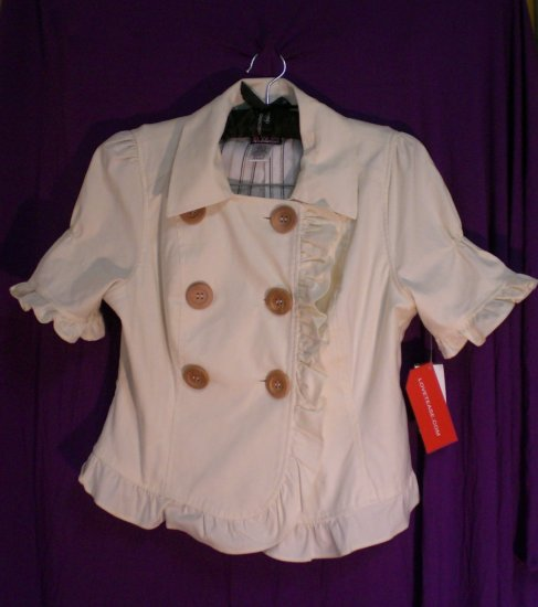 LOVE TEASE Cream Ruffled Jacket with Big Buttons - S