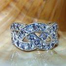 925 Silver Tanzanite Ring 8US Size, Sterling Silver Natural Tanzanite Cluster Ring, Handmade