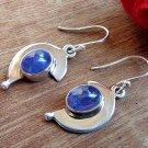 925 SIlver Tanzanite Earrings Half Moon Sterling Silver Earrings, Tanzanite Earrings Handmade