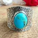 925 Silver Solid Turquoise Ring 9US Sterling Silver Hammered Ring Wide Band Bohemian Statement