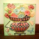 Antique Tile - Flowers & Butterflies