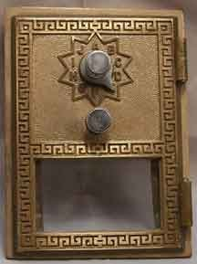 Post Office Box door Grecian style combination lock