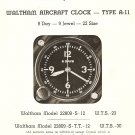 Waltham A-11 Aircraft Clock, Material Catalog-IN PDF FILE