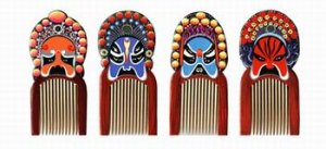 Beijing opera mask wood hair brush - great souvenir from China