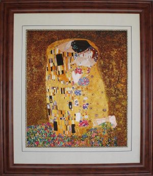 "Reproduction of Klimt's painting ""The Kiss"" - hand embroidered"