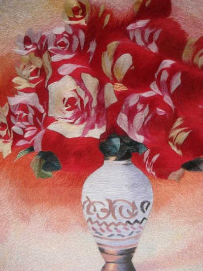 Handmade silk embroidery flowers painting art deco