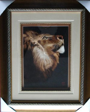 Hand embroidered silk lion wall decor, museum quality