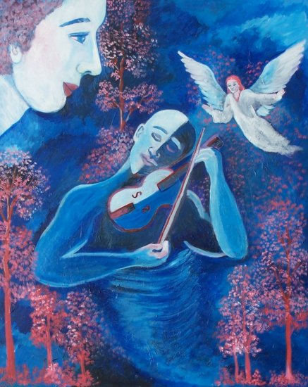 Large Violin Player with Angels Looking On