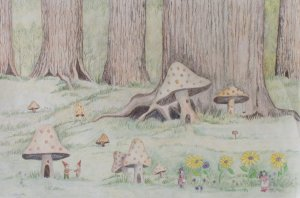 Small People with Mushrooms