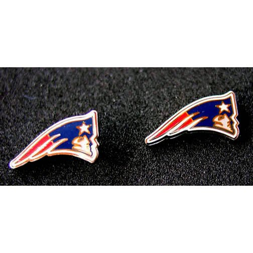 Patriots Silvertone Logo Post Style Earrings