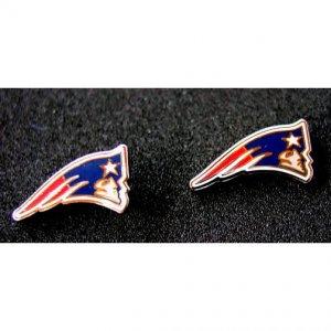 Patriots Silvertone Logo Post Style Earrings