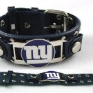 New York Giants Italian Leather Cuff Logo Bracelet