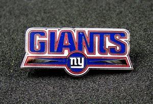 New York Giants Silvertone & Enamel Name Style Logo Pin