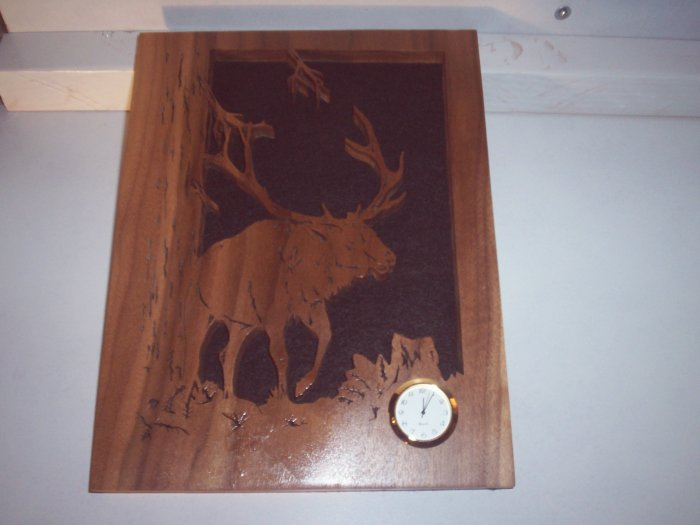 Wooden Elk Mini Clock