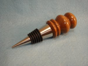 Hand Crafted Stainless Steel Tamboti Wood Bottle Stopper