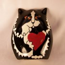 Ceramic Tuxedo Kitty Vase