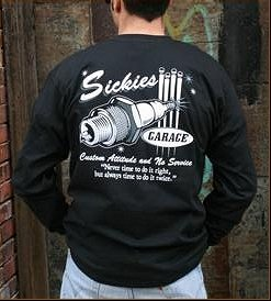 "SickBoy Motorcycles ~ Men�s T Long Sleeve Biker Tee Shirt ""SICKIES GARAGE"" L"
