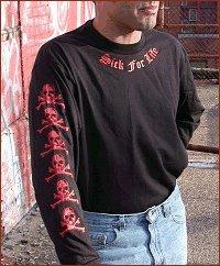 "Sickboy Motorcycles Men�s T ""SICK FOR LIFE"" Long Sleeve Biker Tee Shirt L"