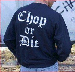 """SickBoy Motorcycles Men�s TEE ~Long Sleeve """"CHOP OR DIE"""" Biker T Shirt L"""