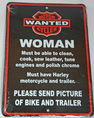 Harley Biker Sign - Woman Wanted