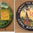 2 RALLY DAY WELCOME SUNDAY SCHOOL PINS 1920's 1950s