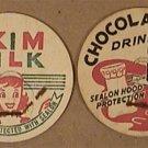 8 VINTAGE UNUSED HOOD DAIRY PAPER MILK CAPS 1940s 1950s