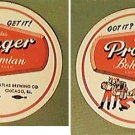 2 ATLAS PRAGER BOHEMIAN LIGHT LAGER BEER COASTERS GOT IT? GET IT!