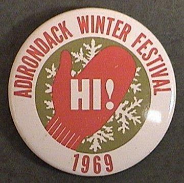 ADIRONDACK WINTER FESTIVAL PIN 1969 RARE ORIGINAL NEW YORK