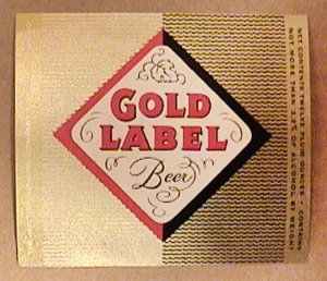 GOLD LABEL 12 oz BEER BOTTLE LABEL UNUSED WALTERS PUEBLO COLORADO 1950s 1960s