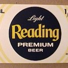 READING LIGHT PREMIUM 1/2 BBL BARREL BEER LABEL UNUSED 1960s UNION STAMP
