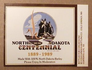 NORTH DAKOTA CENTENNIAL 1889 1989 COLD SPRING BREWERY BEER LABEL NEW UNUSED LTD