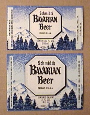 2 SCHMIDTS BAVARIAN BEER BOTTLE LABELS 6 & 12 oz CHRISTIAN SCMIDT BREWING 1970s