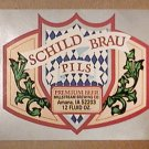 SCHILD BRAU MILLSTREAM BREWING 12 oz BEER BOTTLE LABEL AMANA iOWA UNSUED 1980s