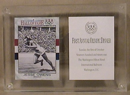 JESSE OWENS US OLYMPICS HALL OF FAME CARD ANNUAL OLYMPIC DINNER 10/19/1991