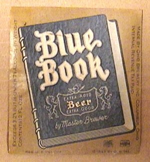 BLUE BOOK BEER BOTTLE LABEL EXTRA AGED OHIO BREWERY 1945 COLUMBUS OHIO REVENUE