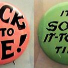 2 PINS SOCK IT TO ME & ITS SOCK IT TO ME TIME LAUGH IN BUTTON 1960s FLIP WILSON