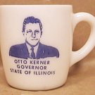 OTTO KERNER COFFEE MUG  MILK GLASS GOVERNOR STATE OF ILLINOIS 1961 1968
