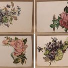4 EMBOSSED HAND COLORED POSTCARDS of FLOWERS WWII ERA 1940s