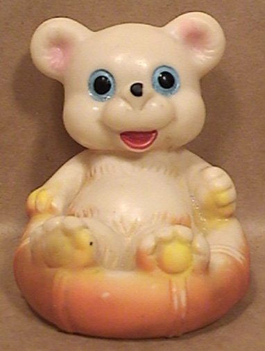 SMALL BEAR SQUEAK TOY DOLL in INFLATABLE BOAT RAFT TUBE VINYL RUBBER KOREA 1970s