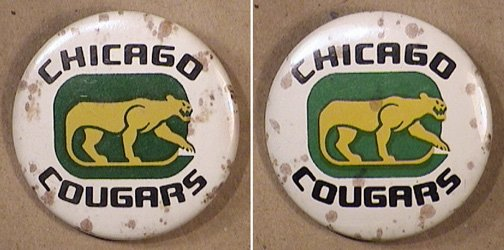 2 CHICAGO COUGARS PINS HOCKEY WHA LOGO BUTTON 1970s