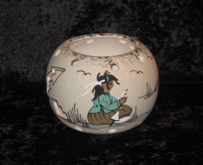 Thompson Signed Decorative Vase, Hand Painted, Native American Theme
