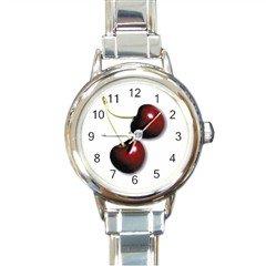New round Italian Charm Watch Cherries