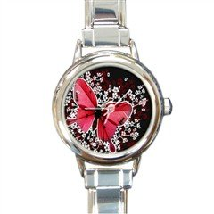 New round Italian Charm Watch Red Butterfly White Flowers