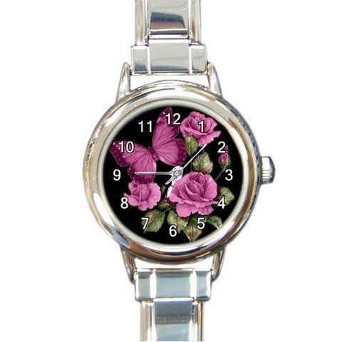 New round Italian Charm Watch Pink Butterfly Pink Roses