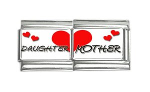 New 9mm photo Italian Charm 2 Set -- Mother & Daughter Heart