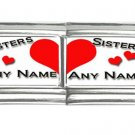 New 9mm photo Italian Charm 2 Set -- Sisters Any Names