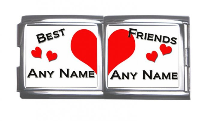 New 18mm Mega photo Italian Charm 2 Set -- Best Friends Any Names